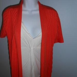 Fred David SS Sweater 2pc Look Orange White XL NWT